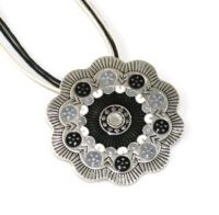 Black & Grey Scalloped Pendant